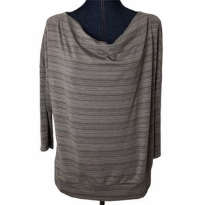 SONOMA Tan w Gold Shimmer Lines Sweater Blouse